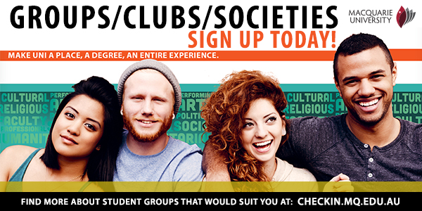 Sign up to join a group, club or society and Macquarie University